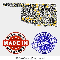 Mosaic Oklahoma State Map of Industry Items and Made In Grunge Seal