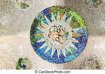 Mosaic on the ceiling in the Park Güell