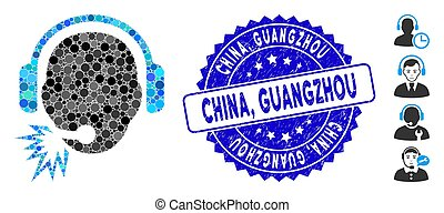 Mosaic Operator Message Icon with Textured China, Guangzhou Seal