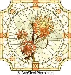 Mosaic orange immortelle. - Vector mosaic of brightly orange...