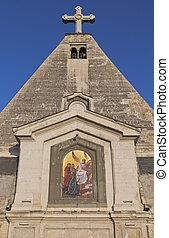 Mosaic painting of the Myrrh-bearing woman of St. Nicholas Church in the city of Sevastopol, Crimea