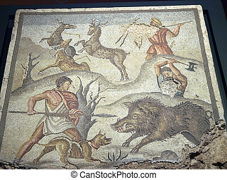 Mosaic panel with the Calydonian boar-hunt. From the Roman...