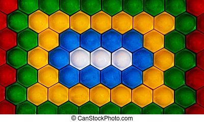 Mosaic pattern of white, blue, yellow, green and red color