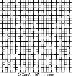 Mosaic pattern with random squares - Black and white...
