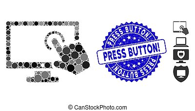 Mosaic PC Screen Tap Icon with Grunge Press Button! Seal