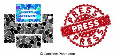 Mosaic Printer with Textured Press Stamp