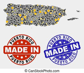 Mosaic Puerto Rico Map of Workshop Elements and Made In Grunge Seal