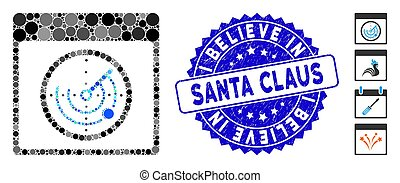 Mosaic Radar Calendar Page Icon with Scratched I Believe in Santa Claus Seal