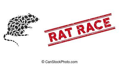 Mosaic Rat Icon with Distress Rat Race Line Seal - Mosaic ...