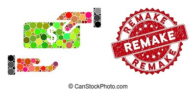 Mosaic rebate and grunge stamp seal with Remake caption. Mosaic vector is formed with rebate icon and with randomized round spots. Remake stamp uses red color, and dirty design.
