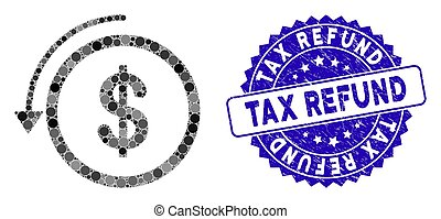Mosaic Refund Icon with Distress Tax Refund Seal - Mosaic...