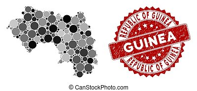 Mosaic Republic of Guinea Map and Grunge Circle Stamp Seal