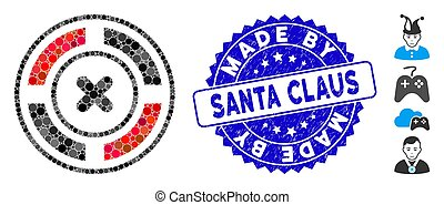 Mosaic Roulette Icon with Distress Made by Santa Claus Seal
