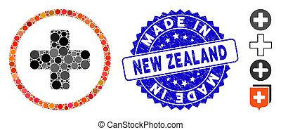 Mosaic Rounded Plus Icon with Distress Made in New Zealand Seal