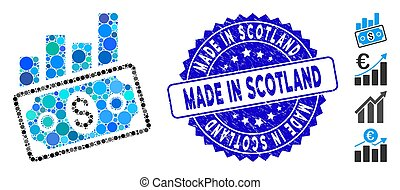 Mosaic Sales Bar Chart Icon with Distress Made in Scotland Seal