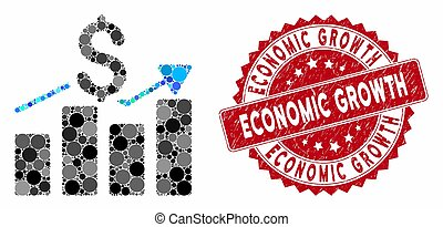 Mosaic Sales Bar Chart with Distress Economic Growth Stamp