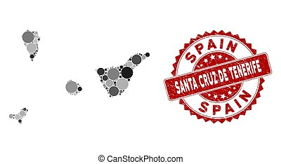 Mosaic Santa Cruz De Tenerife Province Map and Scratched Round Stamp