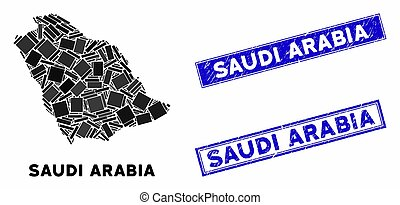 Mosaic Saudi Arabia Map and Distress Rectangle Watermarks
