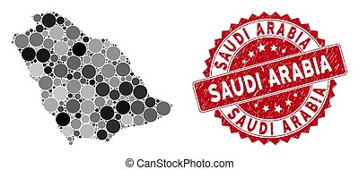 Mosaic Saudi Arabia Map and Scratched Circle Watermark