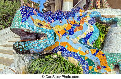 Mosaic sculpture Barcelona Gaudi - Mosaic sculpture at the ...