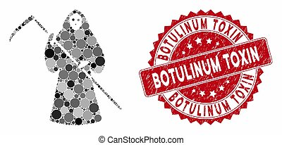 Mosaic Scytheman with Textured Botulinum Toxin Stamp