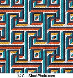 mosaic seamless pattern in antique roman style. vector...