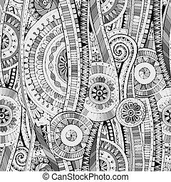 Mosaic seamless tribal doddle ethnic pattern.