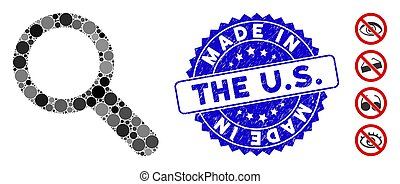 Mosaic Search Tool Icon with Distress Made in the U.S. Seal