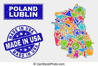 Mosaic Service Lublin Voivodeship Map and Distress Made in USA Seal