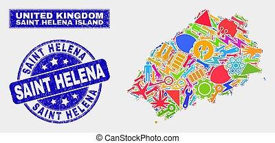 Mosaic Service Saint Helena Island Map and Distress Saint Helena Stamp
