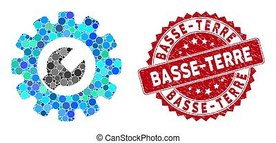 Mosaic service tools and distressed stamp seal with Basse-Terre phrase. Mosaic vector is formed from service tools icon and with scattered circle spots. Basse-Terre stamp seal uses red color,