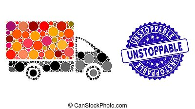 Mosaic shipment car icon and rubber stamp seal with Unstoppable caption. Mosaic vector is designed with shipment car icon and with random round items. Unstoppable stamp uses blue color,