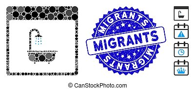 Mosaic shower bath calendar page icon and corroded stamp seal with Migrants text. Mosaic vector is composed with shower bath calendar page pictogram and with random circle items.