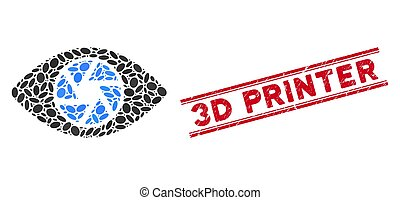 Mosaic Shutter Eye Icon with Textured 3D Printer Line Seal