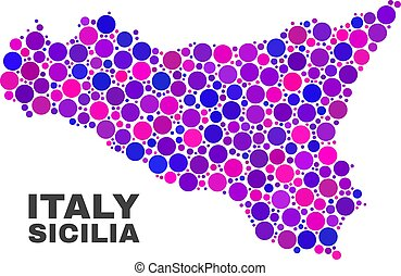 Mosaic Sicilia Map of Circle Items - Mosaic Sicilia map...
