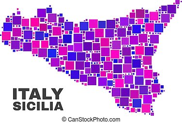 Mosaic Sicilia Map of Square Items - Mosaic Sicilia map...