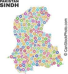 Mosaic Sindh Province Map of Cogwheel Items