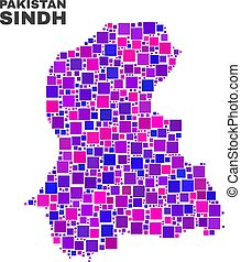 Mosaic Sindh Province Map of Square Items