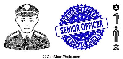 Mosaic Soldier Icon with Textured Senior Officer Seal - ...