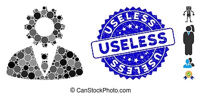 Mosaic Soulless Official Bureaucrat Icon with Grunge Useless Seal