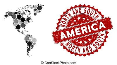 Mosaic South and North America Map and Distress Circle Watermark