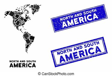 Mosaic South and North America Map and Grunge Rectangle Stamp Seals