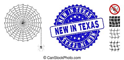 Mosaic Spider Net Icon with Distress New in Texas Seal