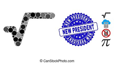 Mosaic Sqrt Icon with Distress New President Seal
