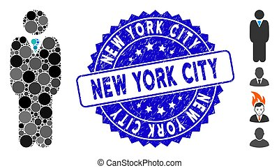 Mosaic Standing Manager Icon with Distress New York City Seal