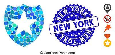 Mosaic Star Shield Icon with Distress New York Stamp