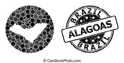 Mosaic Stencil Circle Map of Alagoas State and Scratched ...