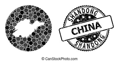 Mosaic Stencil Circle Map of Shandong Province and Grunge Stamp