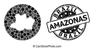 Mosaic Stencil Round Map of Amazonas State and Scratched Stamp
