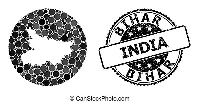 Mosaic Stencil Round Map of Bihar State and Watermark Seal